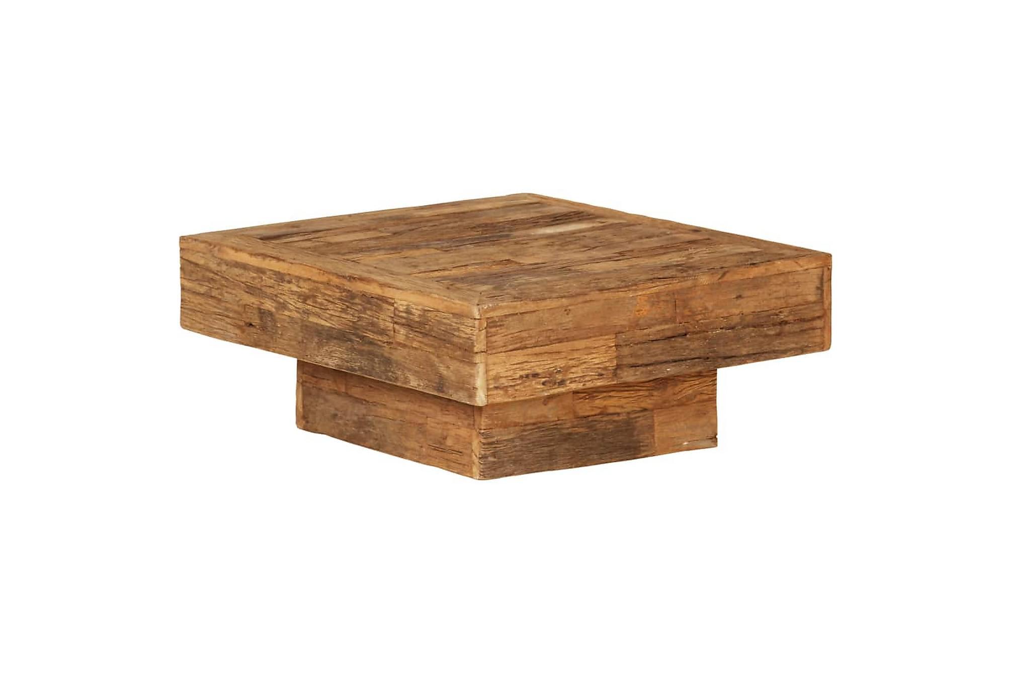 Soffbord massivt återvunnet sliperträ 70x70x30 cm