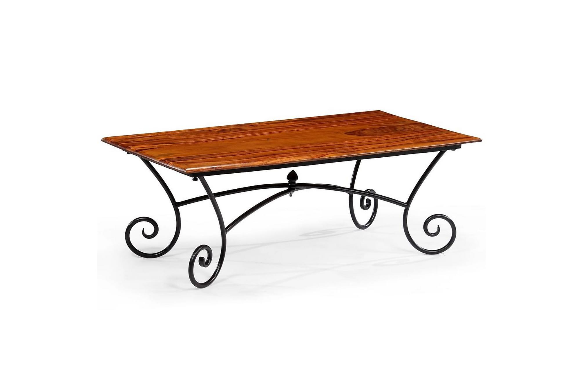 Soffbord med böjda ben massivt sheshamträ 110x60x39 cm