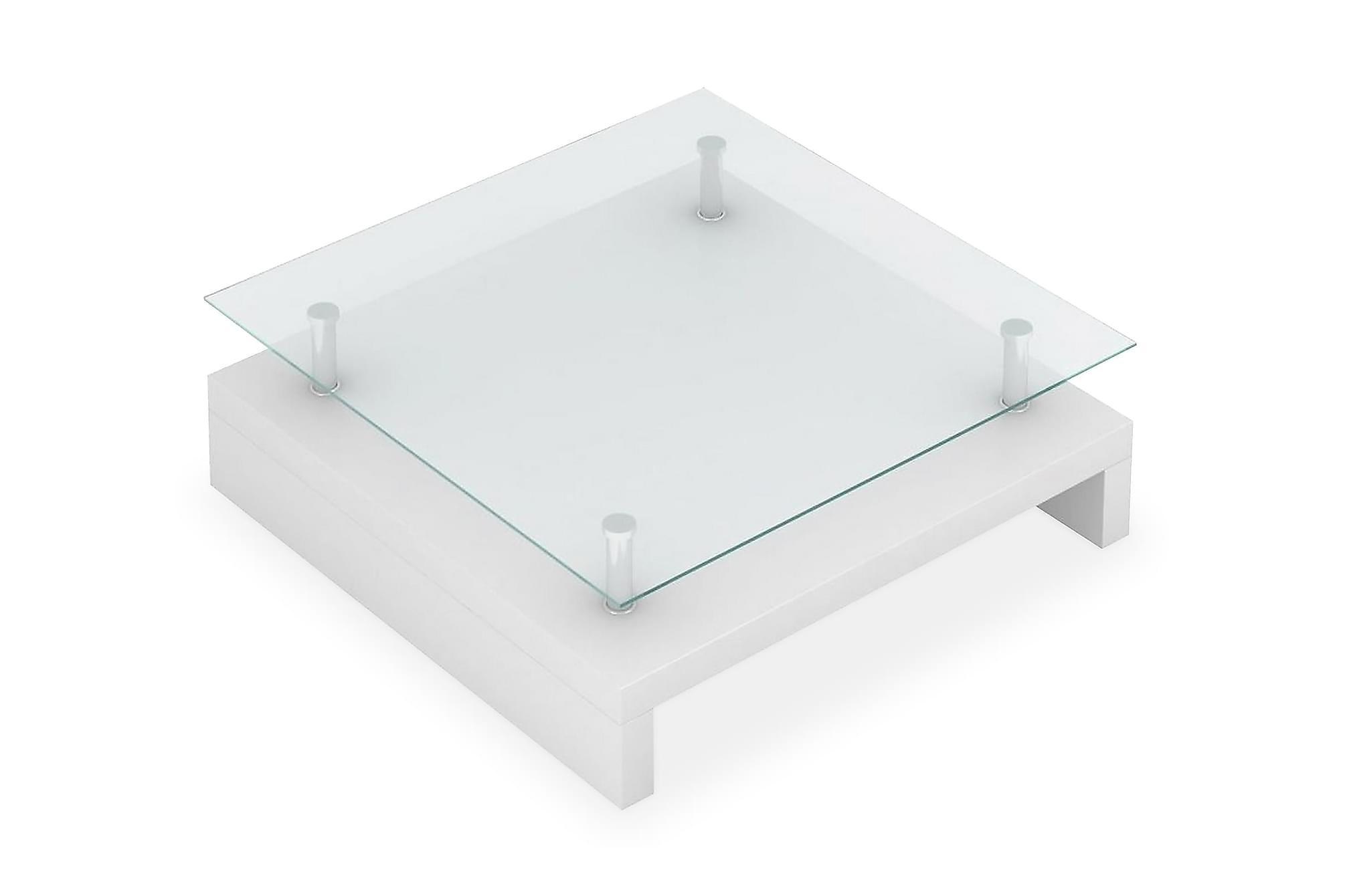 Soffbord med bordsskiva i glas vit