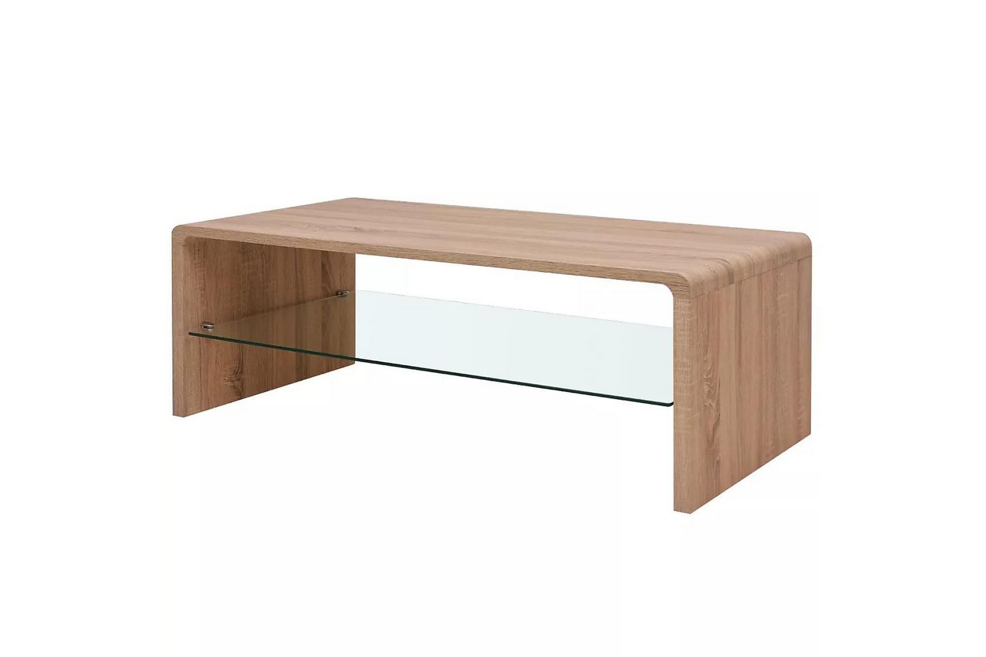 Soffbord med glashylla brun