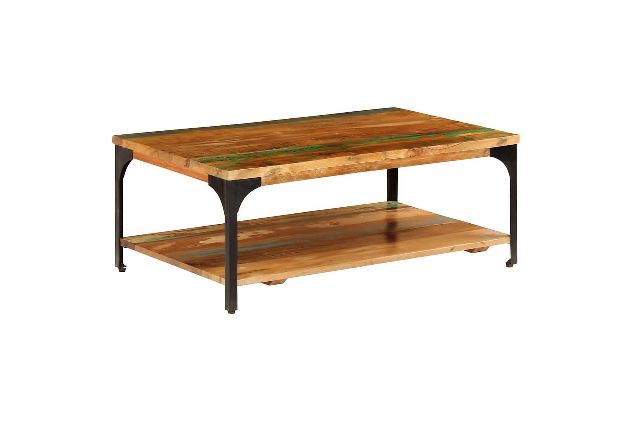 Soffbord med hylla 100x60x35 cm massivt återvunnet trä