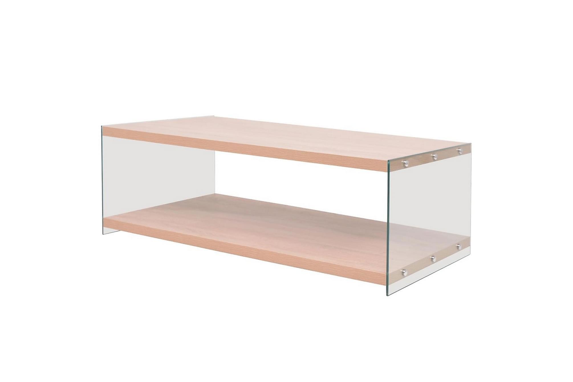 Soffbord med hylla glas MDF ekfärgad