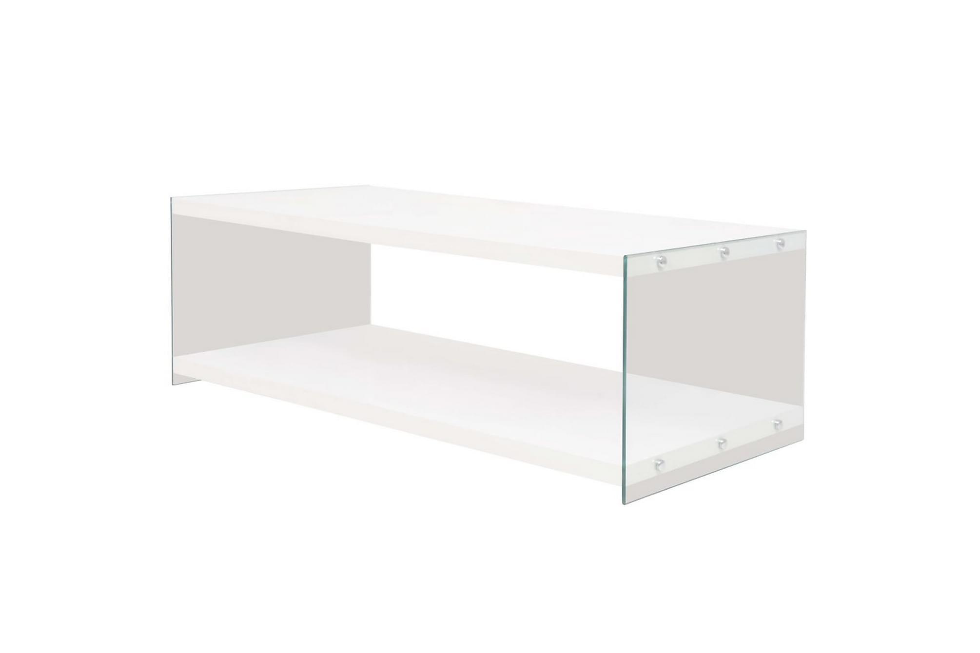 Soffbord med hylla glas MDF högglans vit