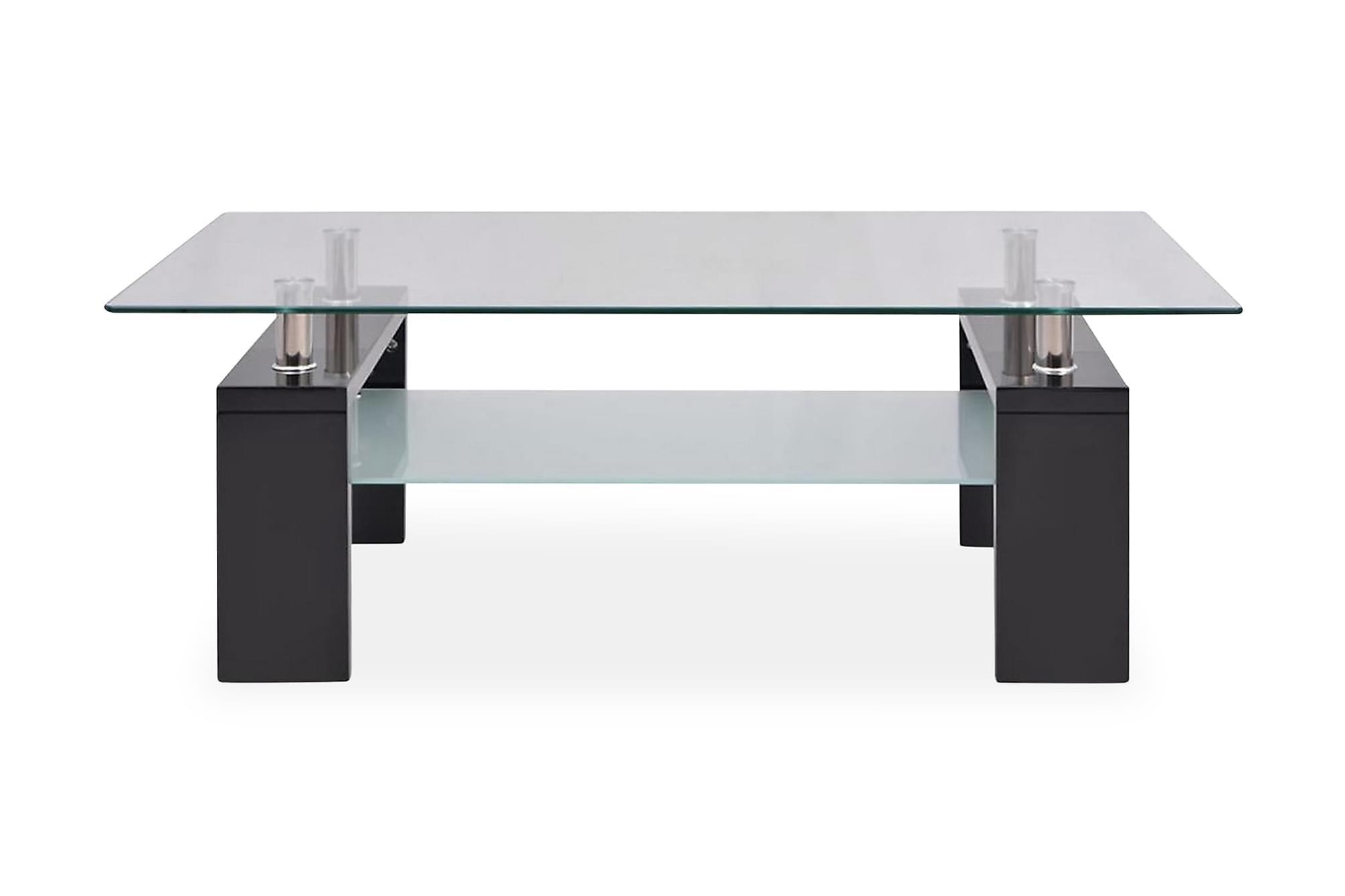 Soffbord med hylla undertill 110x60x40 cm högglans svart