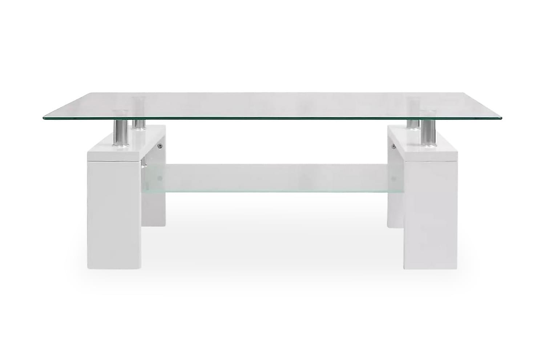 Soffbord med hylla undertill 110x60x40 cm vit högglans