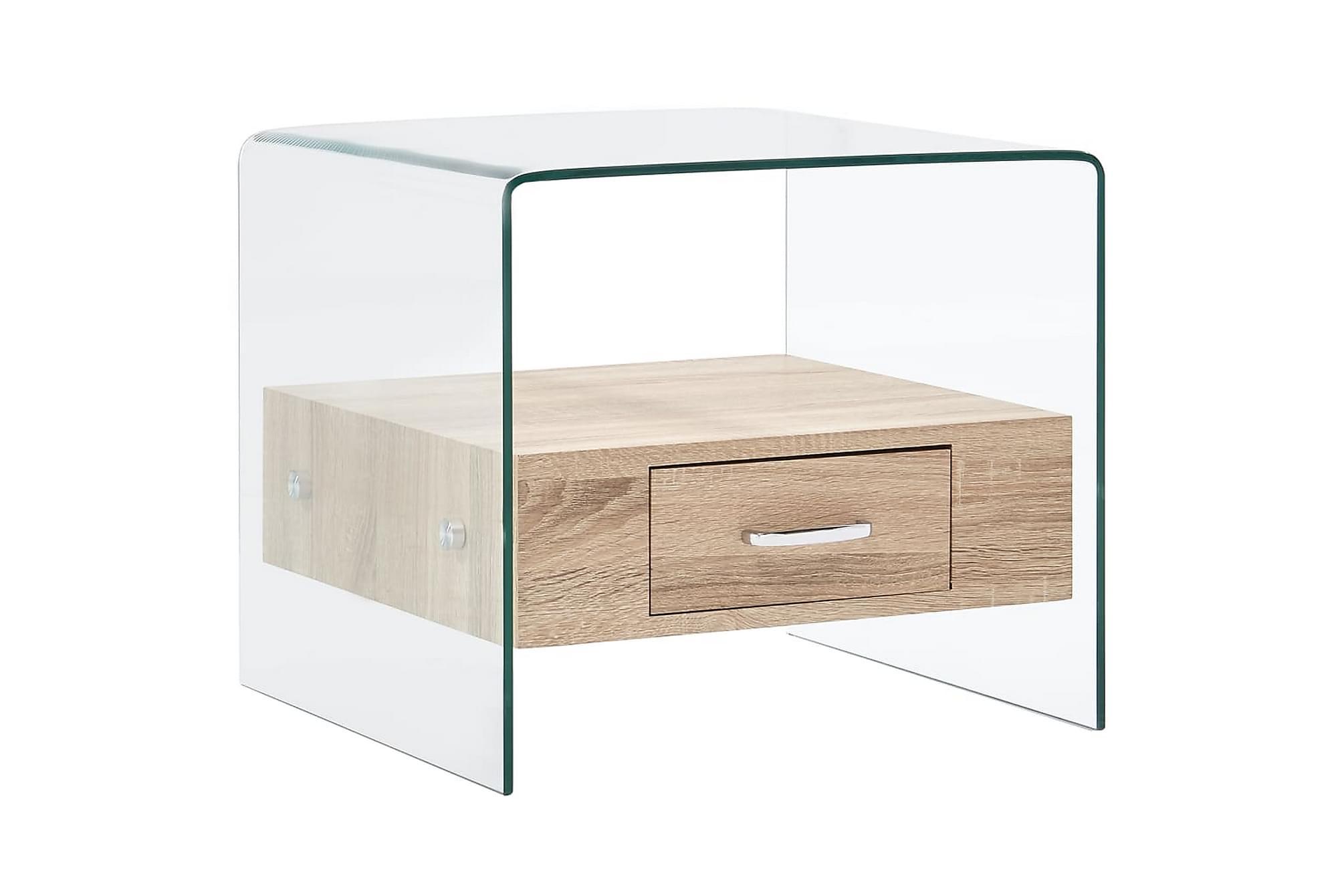 Soffbord med låda 50x50x45 cm härdat glas