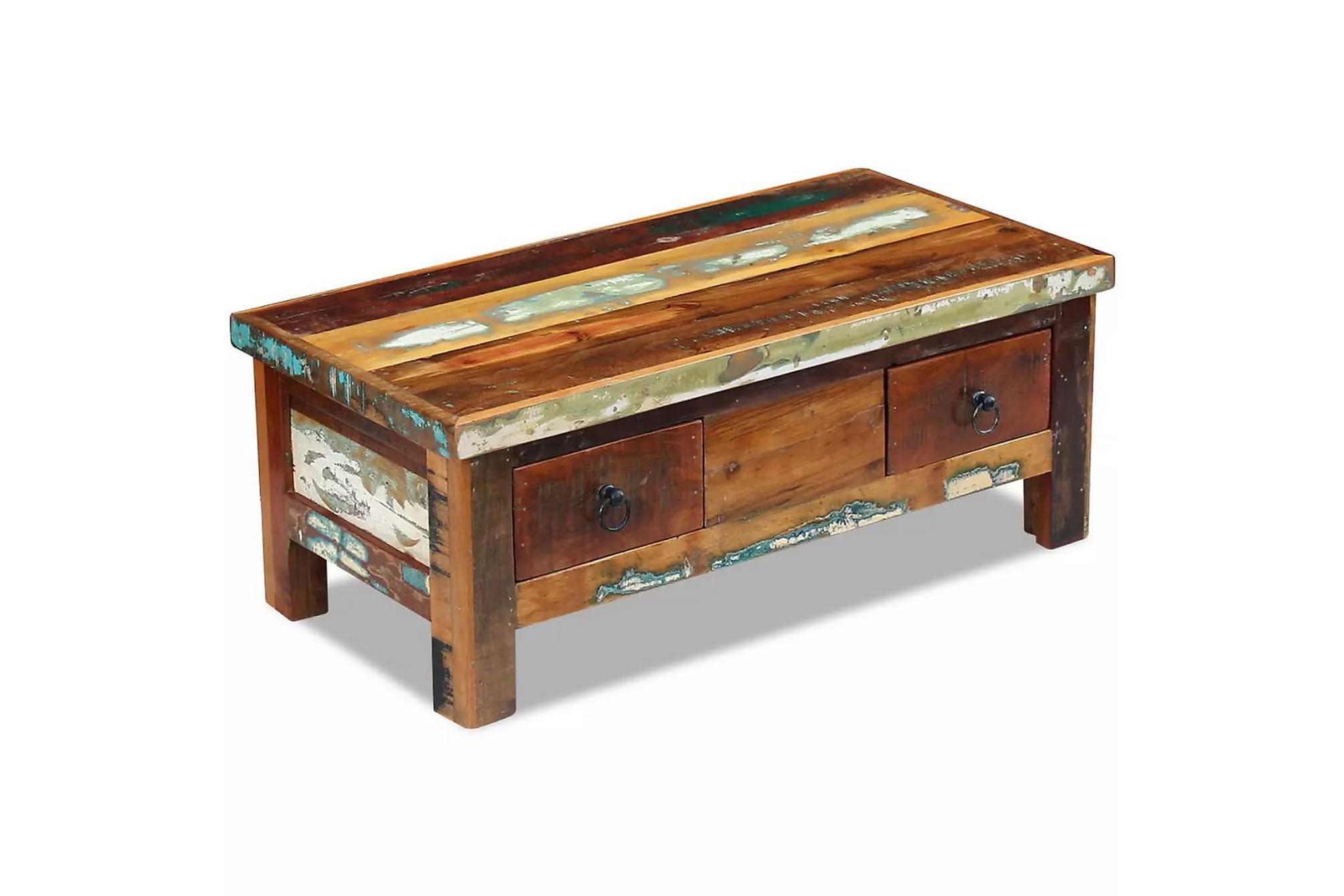 Soffbord med lådor massivt återvunnet trä 90x45x35 cm