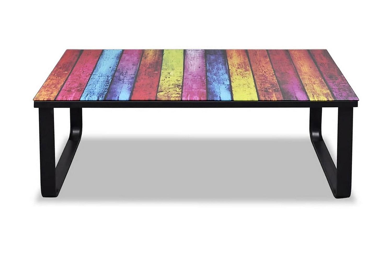 Soffbord med regnbågstryck glasskiva