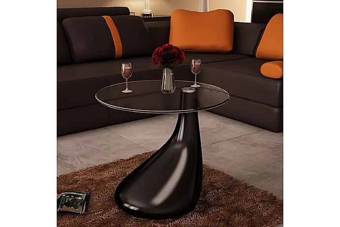Soffbord med rund bordsskiva i glas högglans svart - Svart - Möbler & Inredning - Bord - Soffbord