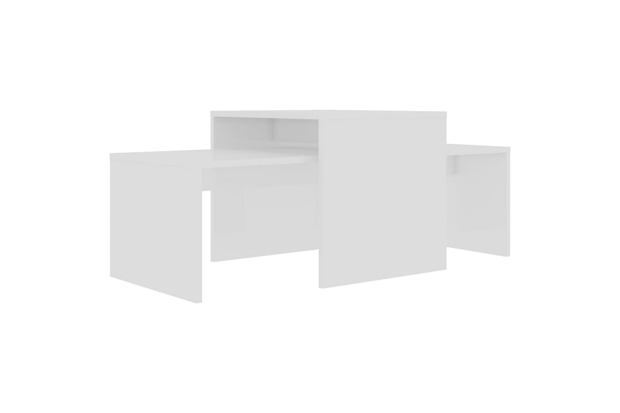 Soffbord set vit högglans 100x48x40 cm spånskiva