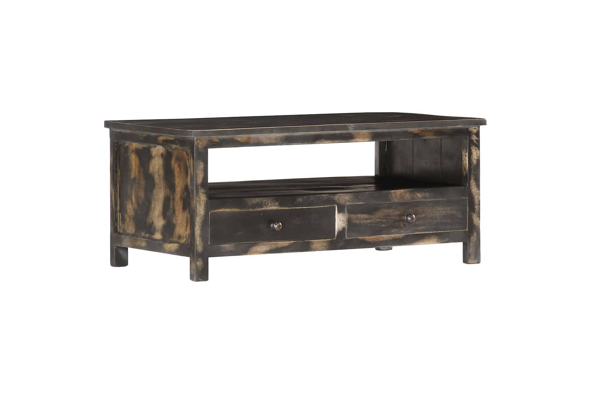 Soffbord svart 90x50x40 cm massivt mangoträ
