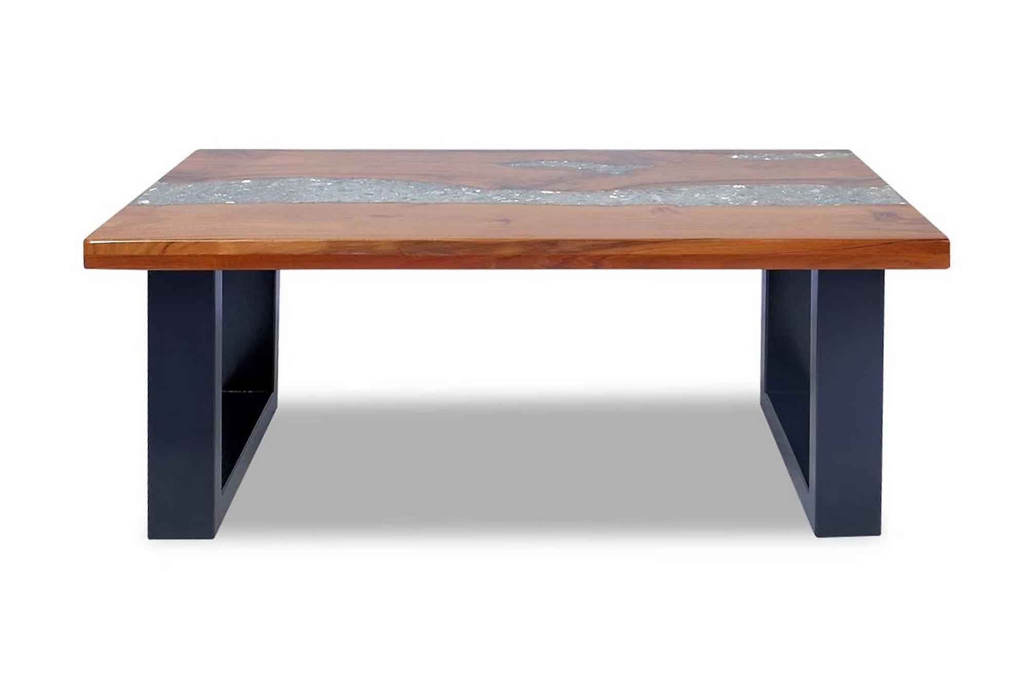 Soffbord teakträ harts 100x50 cm
