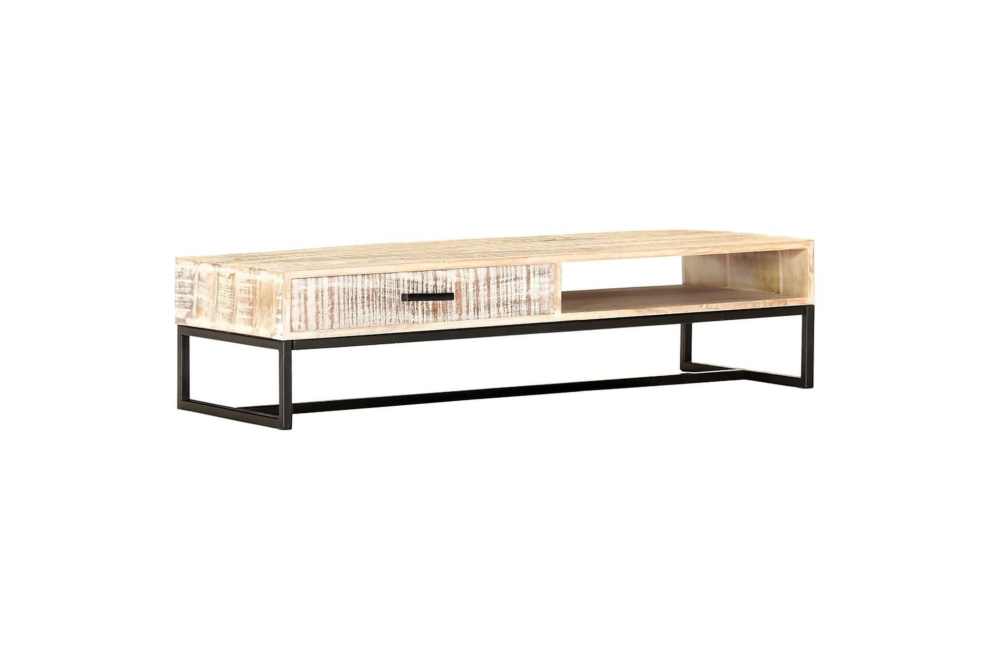 Soffbord vit 117x50x30 cm massivt akaciaträ