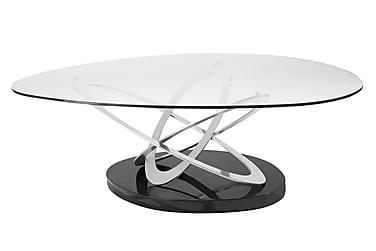 TULSA Soffbord 125 Oval Glas/Krom/Svart