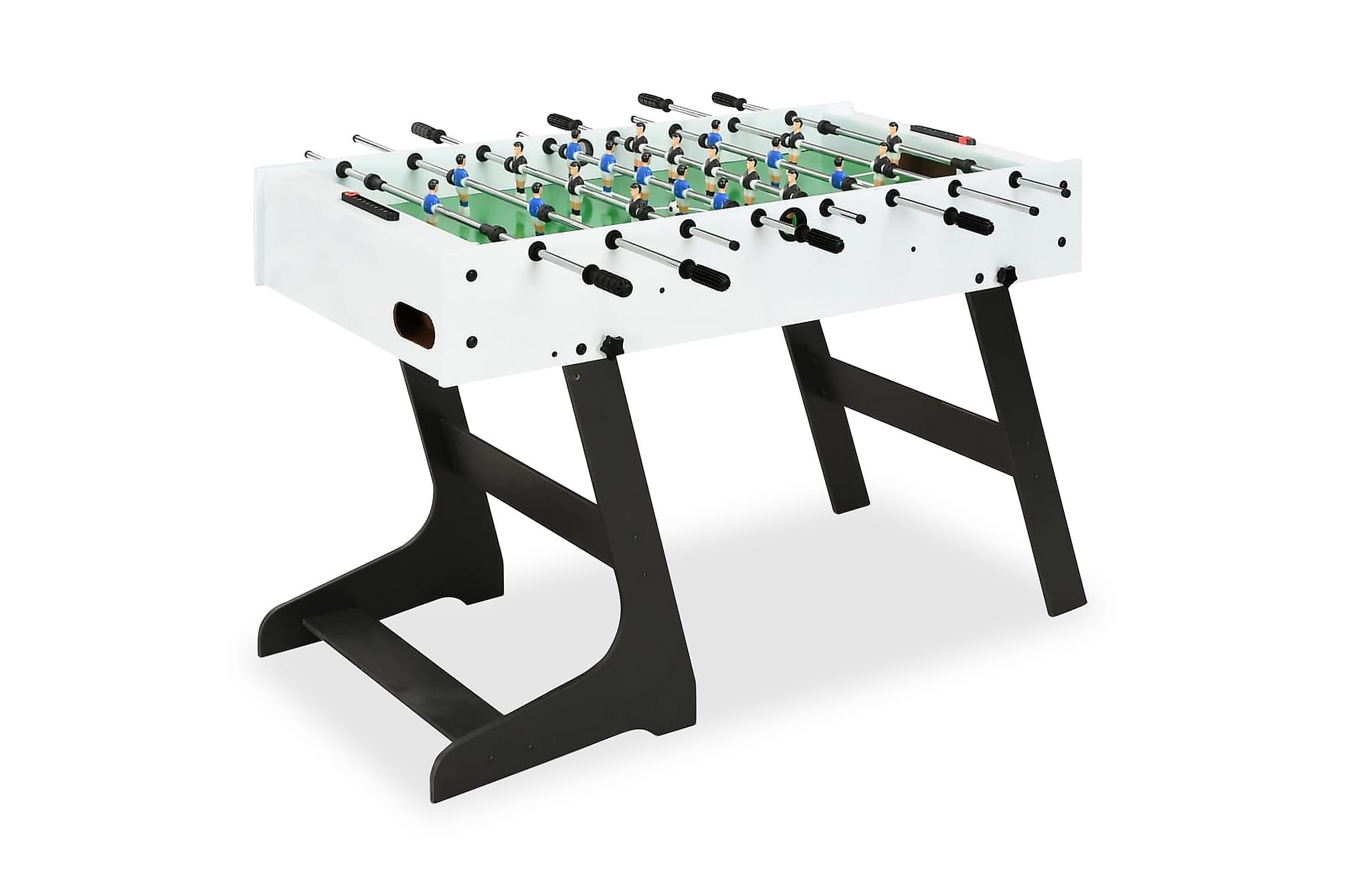 Fotbollsbord hopfällbart 121x61x80 cm vit, Spelbord