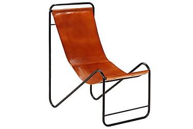 Avkopplingsstol äkta läder 50x78x90 cm brun