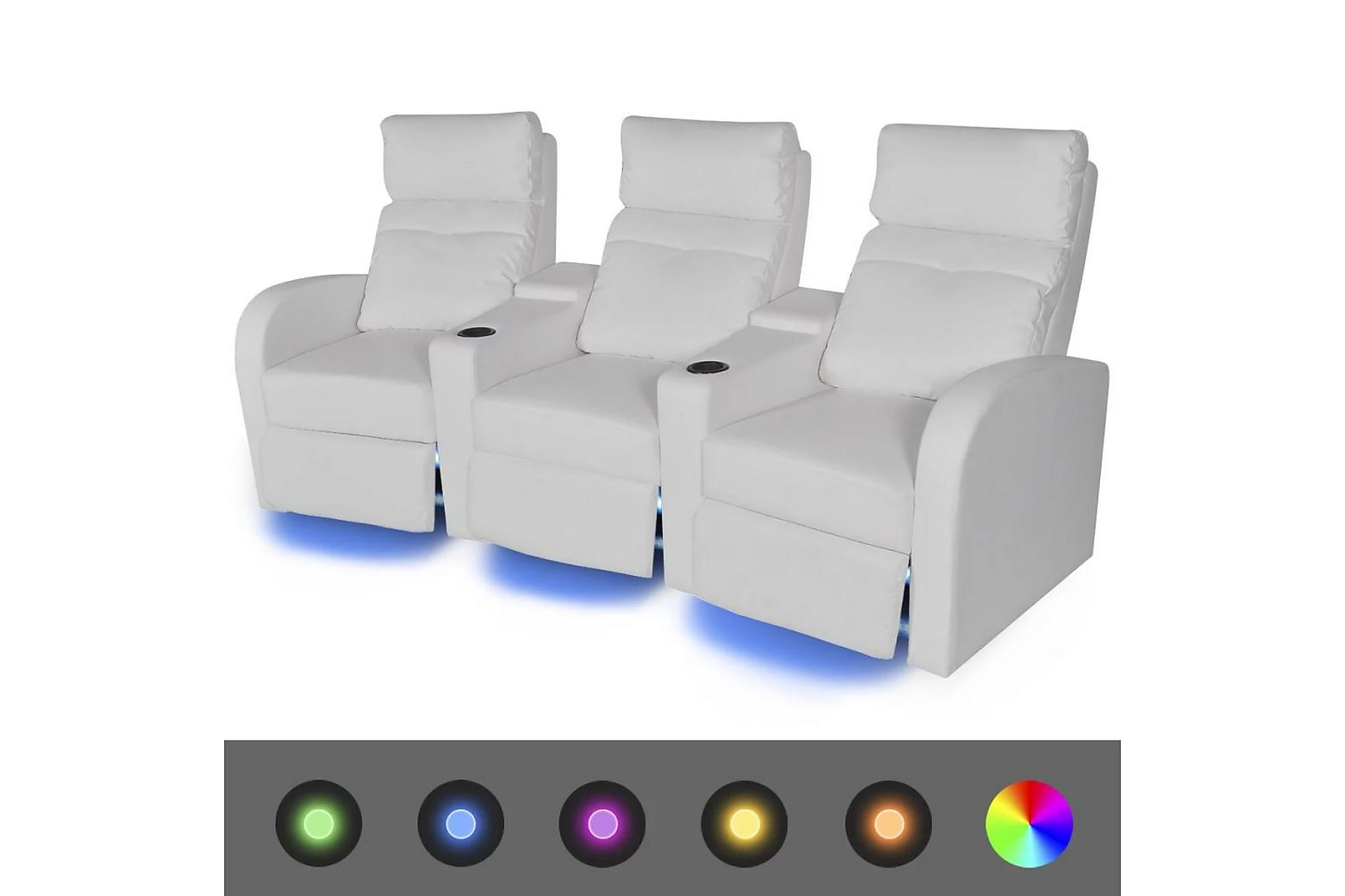 2 st Liggfåtöljer 2+3-sits med LED konstläder vit, Liggfåtöljer