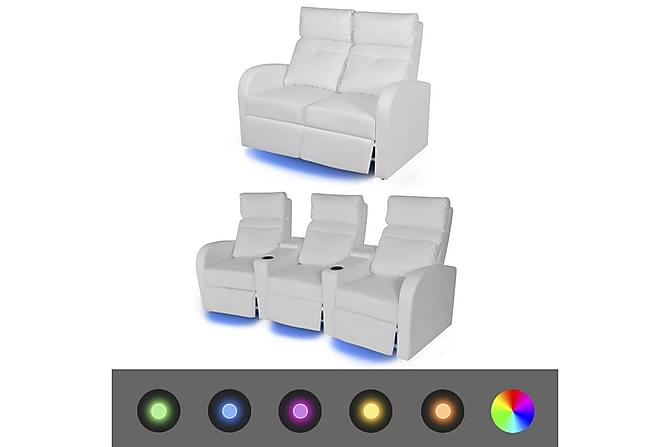MENDOZA Biosoffa 2-sits+3-sits LED Konstläder Vit - Inomhus - Fåtöljer & fotpallar - Liggfåtöljer