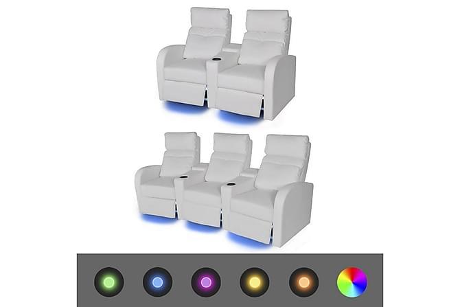 MENDOZA Biosoffa 2-sits+3-sits med Mugghållare LED Vit - Inomhus - Fåtöljer & fotpallar - Liggfåtöljer