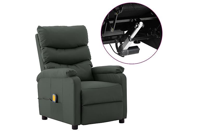 Elektrisk massagefåtölj grå konstläder - Grå - Möbler & Inredning - Fåtöljer & fotpallar - Massagestolar & massagefåtöljer