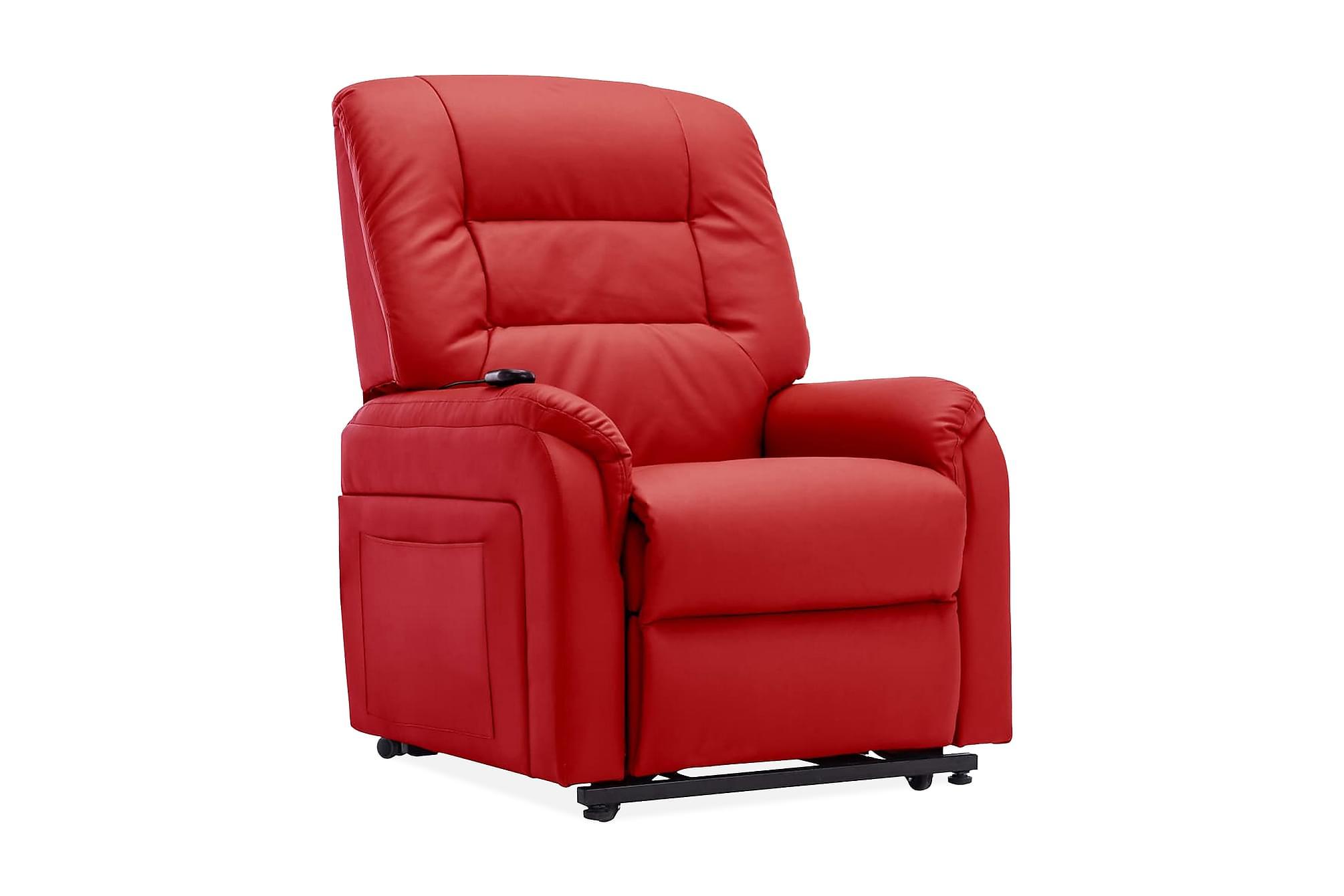 Elektrisk reclinerfåtölj med uppresningshjälp röd konstläder
