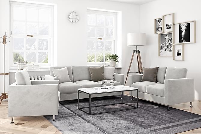 COLGARY Fåtölj Beige Sammet - Möbler & Inredning - Fåtöljer & fotpallar - Sammetsfåtölj