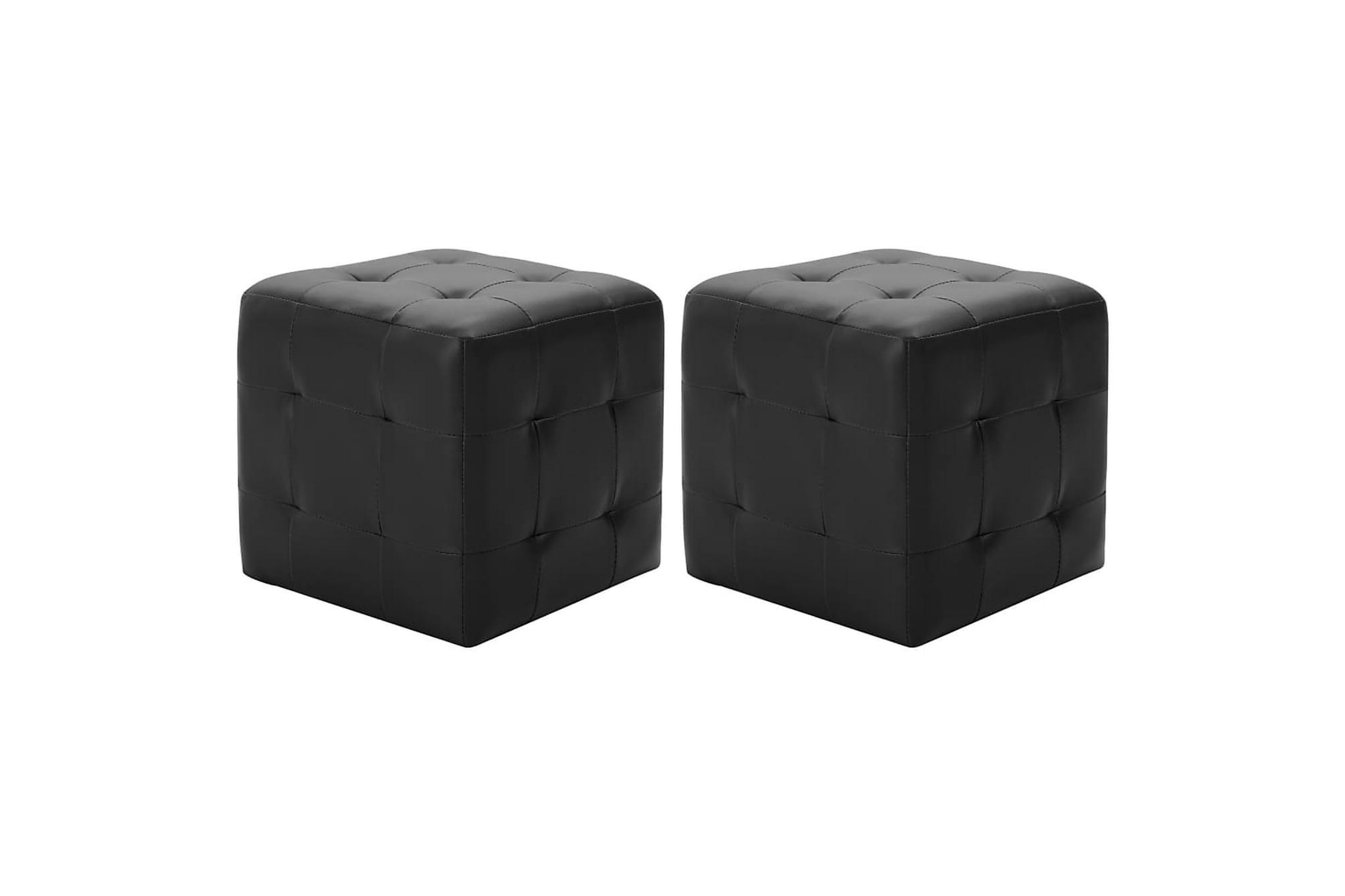Sittpuff 2 st svart 30x30x30 cm konstläder