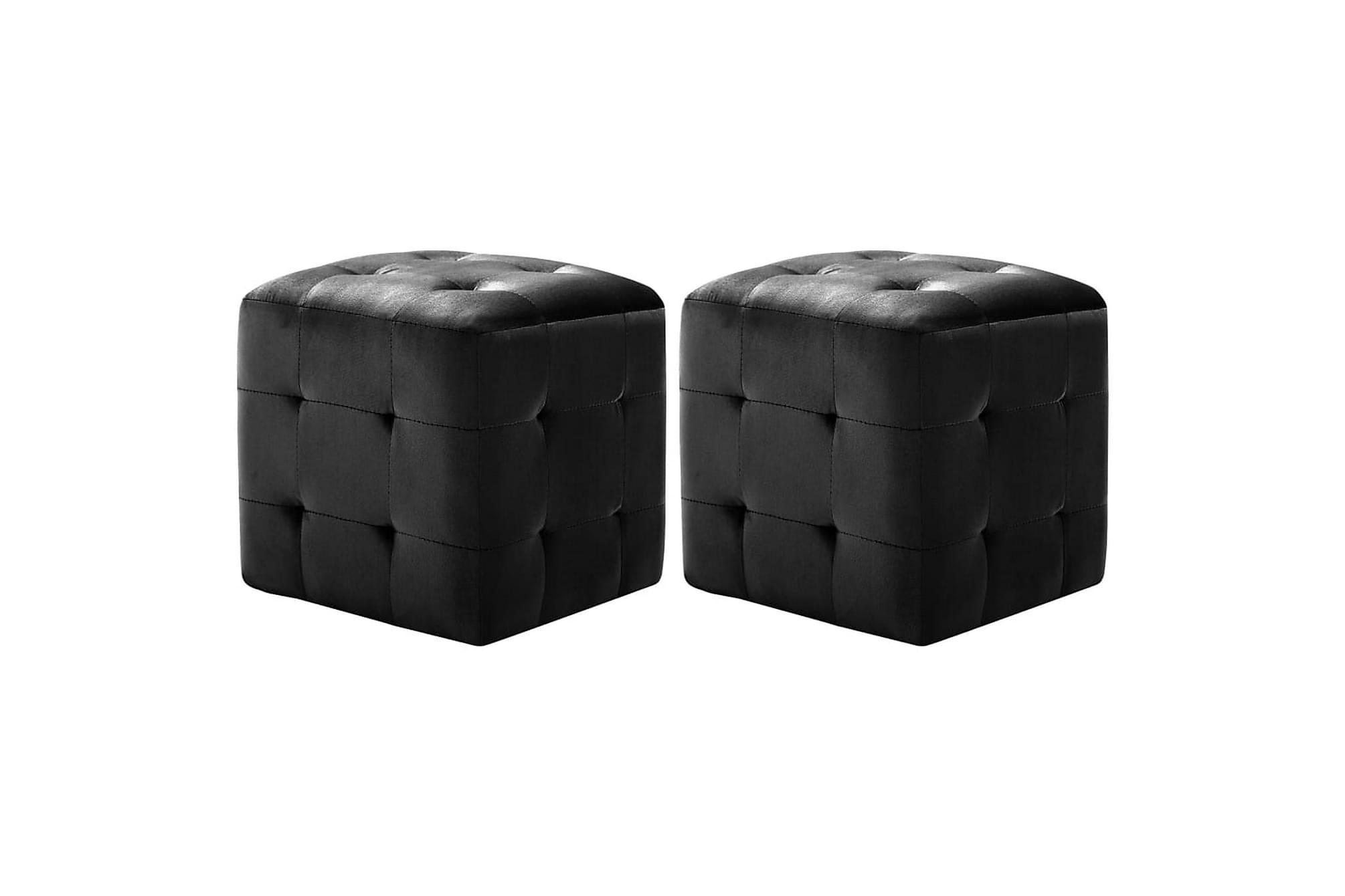 Sittpuff 2 st svart 30x30x30 cm sammetstyg