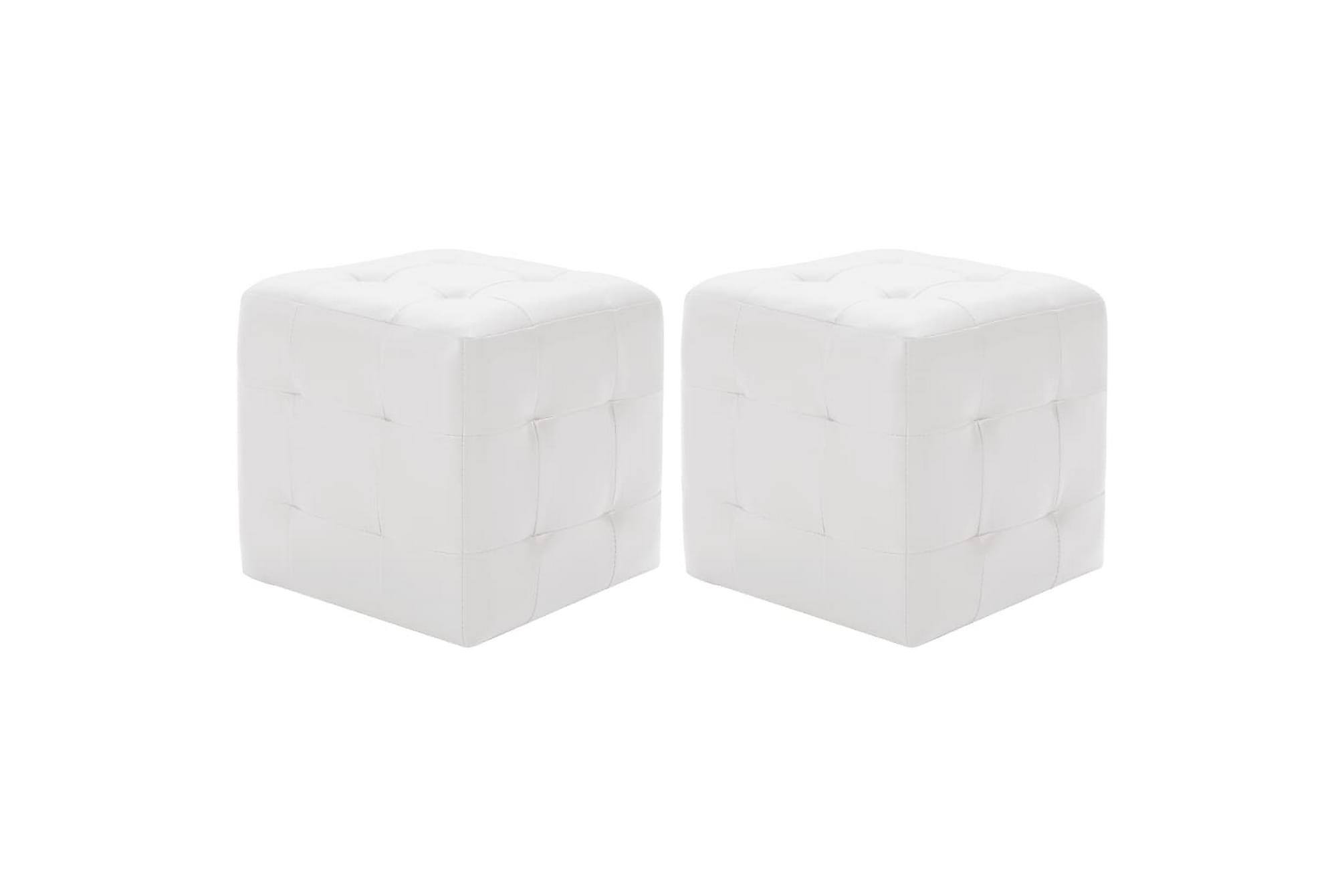 Sittpuff 2 st vit 30x30x30 cm konstläder