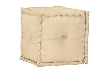 Sittpuff beige 40x40x40 cm bomullskanvas