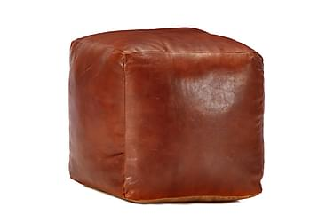 Sittpuff brun 40x40x40 cm äkta getskinn