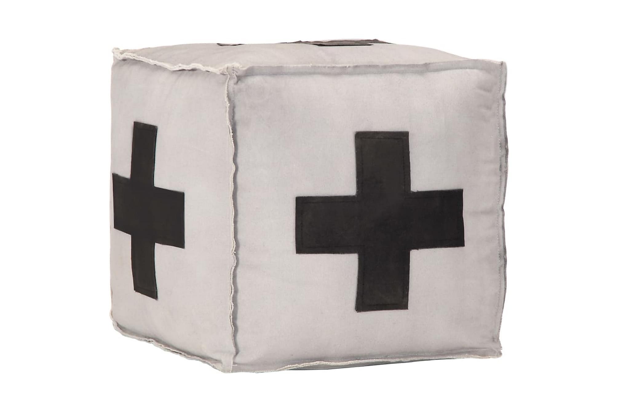 Sittpuff grå 40x40x40 cm bomullskanvas och läder