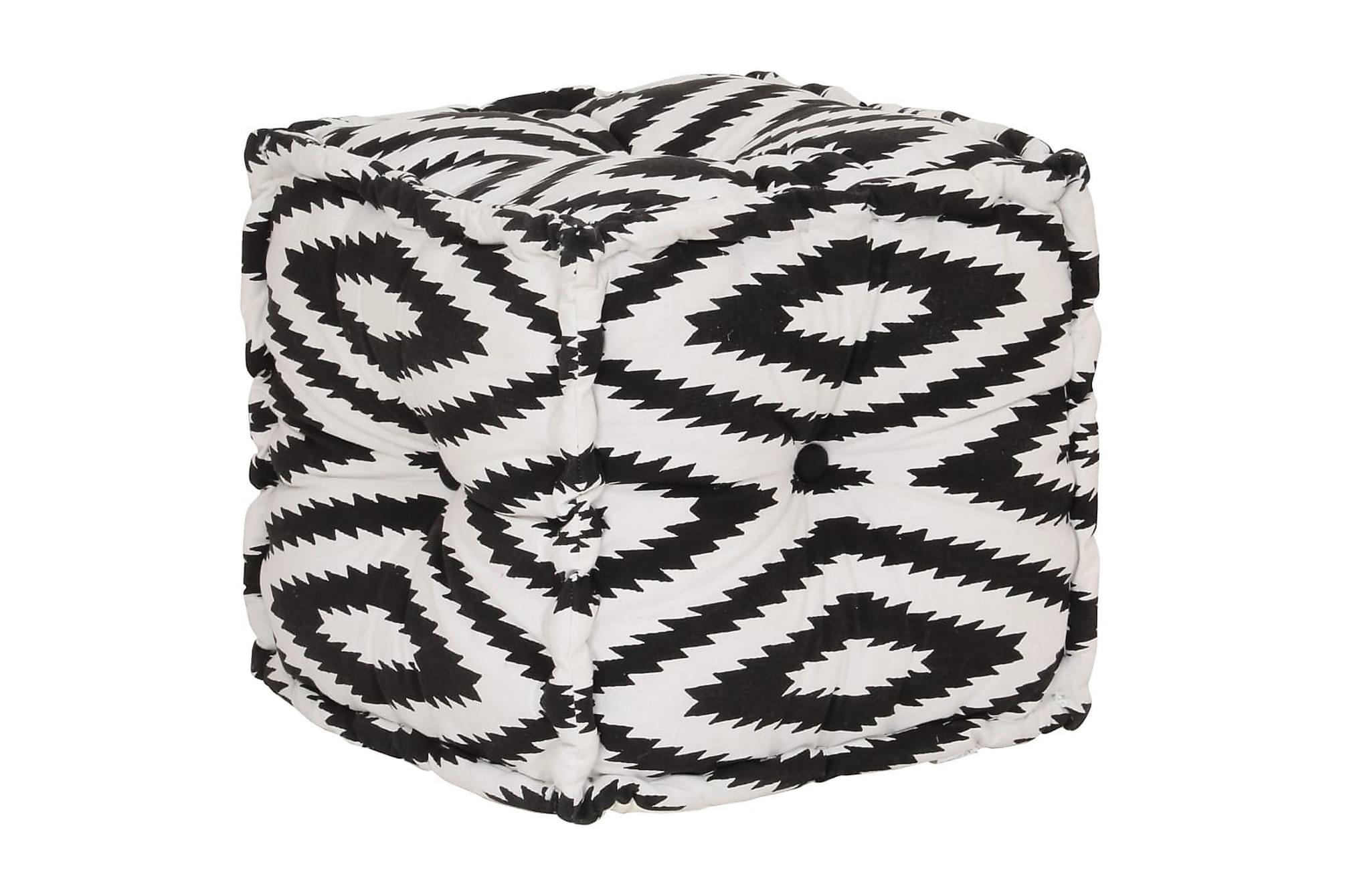 Sittpuff i bomull kub med mönster handgjord 40×40 cm svart/v