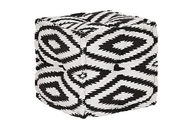 SITTPUFF i bomull kub med mönster handgjord 40x40 cm svart/v