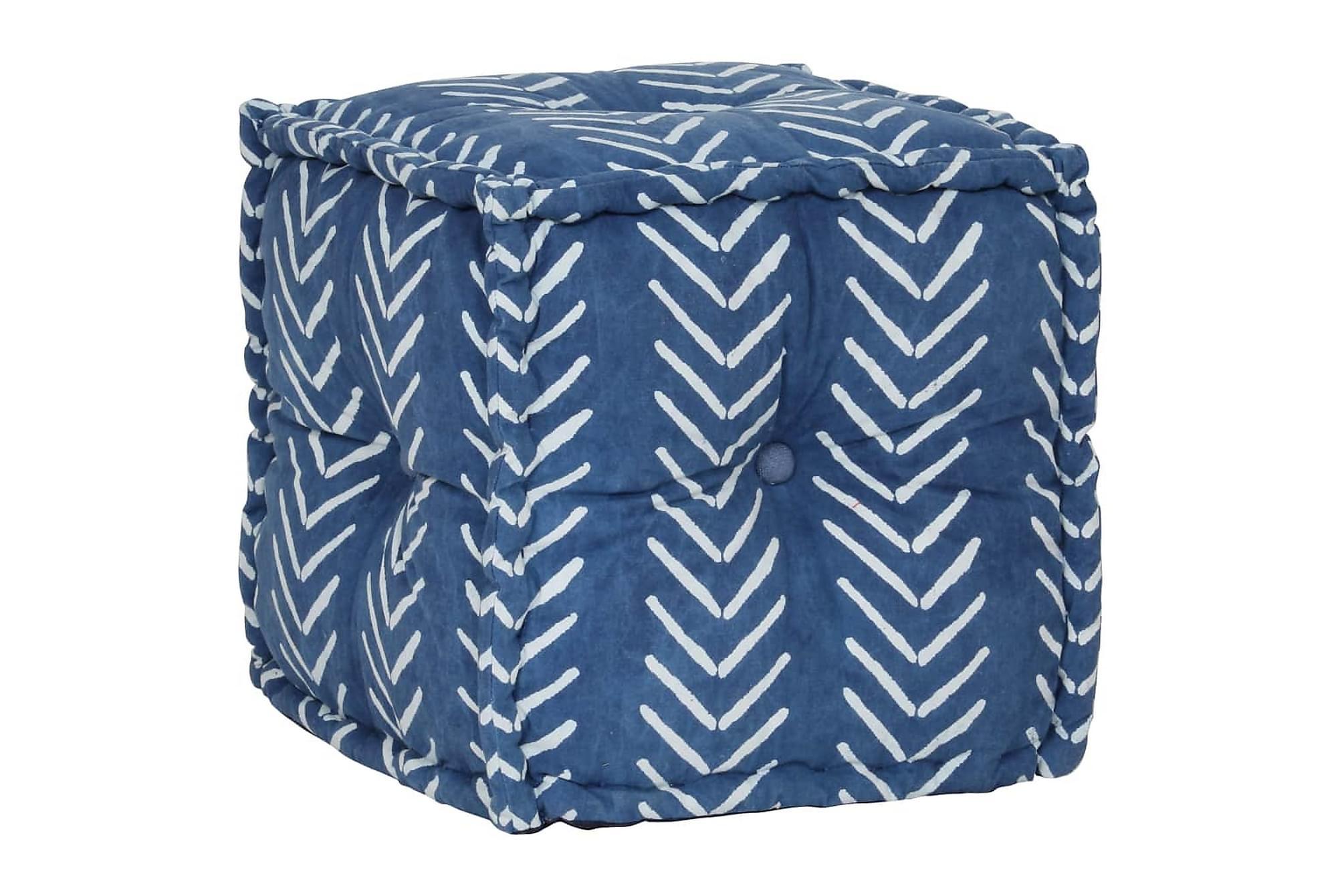 Sittpuff med mönster kub bomull handgjord 40×40 cm indigo
