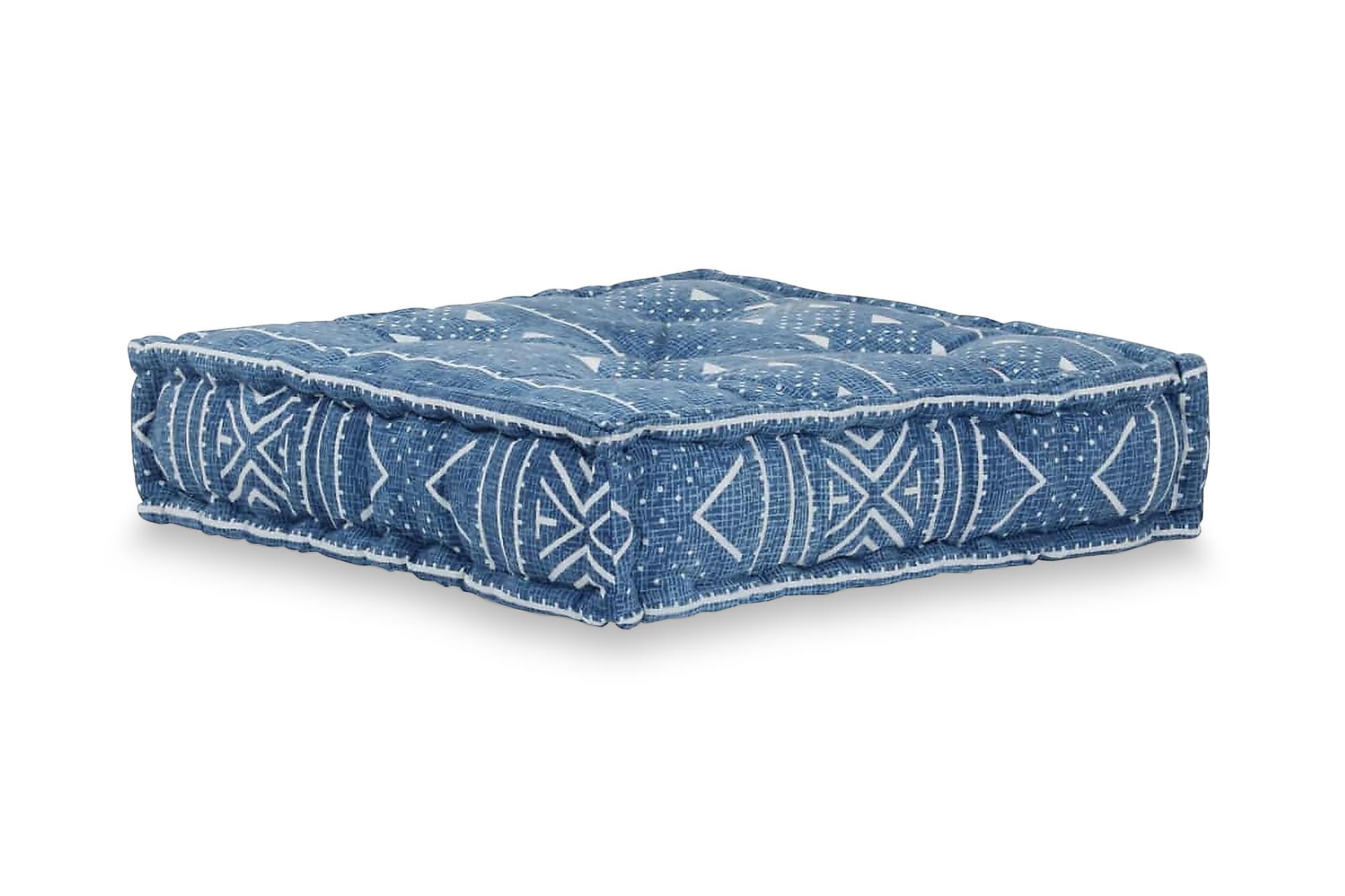 Sittpuff mönster fyrkantig handgjord 50x50x12 cm blå