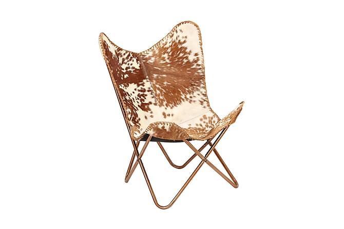 Fladdermusfåtölj brun och vit äkta getskinn - Flerfärgad - Möbler & Inredning - Fåtöljer & fotpallar - Skinnfåtölj