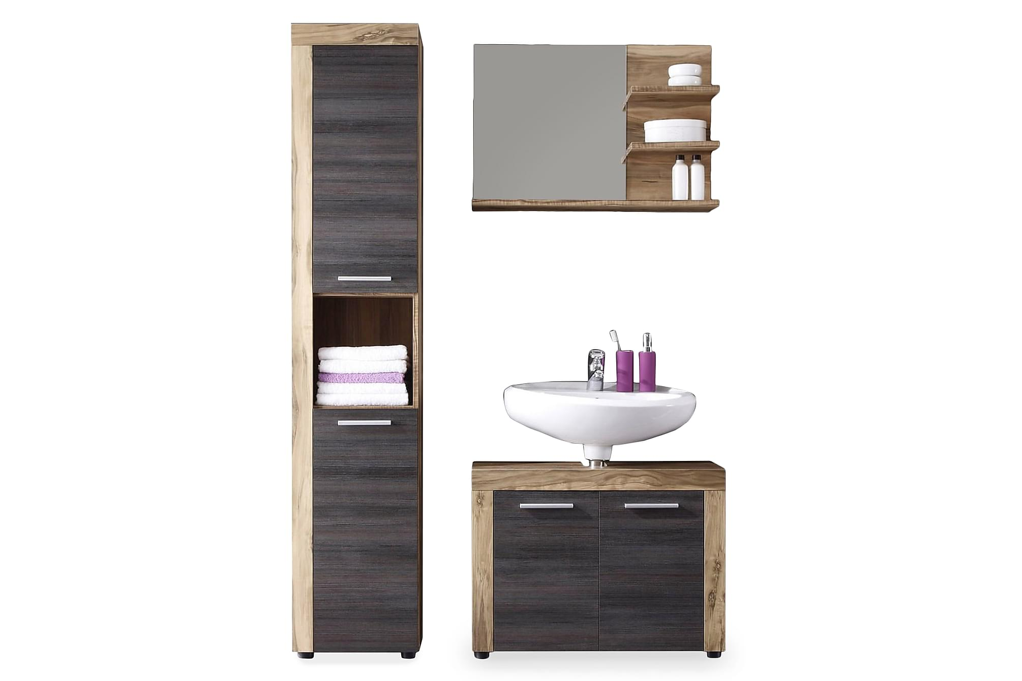 Cornell Möbelset XL 3 Delar Valnöt/Touchwood, Badrumsförvaring