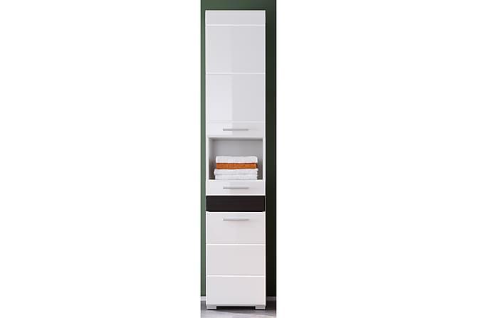 NYEMA Högskåp XL 37 Vit/Mörk Ek - Möbler & Inredning - Förvaring - Badrumsförvaring