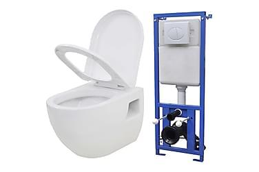 Vägghängd toalett m. dold cistern keramik vit