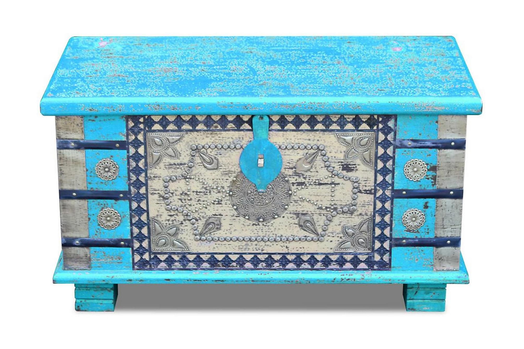 Förvaringskista mangoträ blå 80x40x45 cm, Förvaringskistor & sängkistor