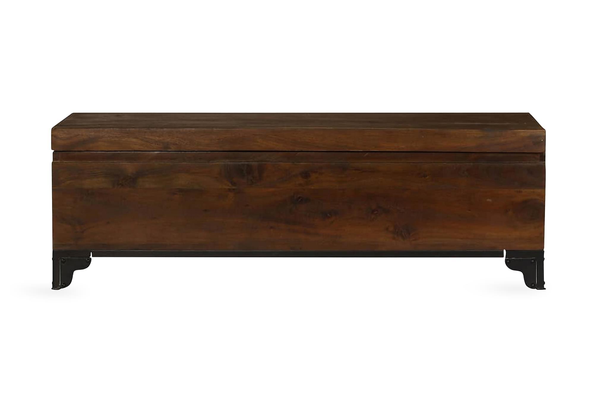 Förvaringskista massivt akaciaträ 120x35x40 cm brun, Förvaringskistor & sängkistor