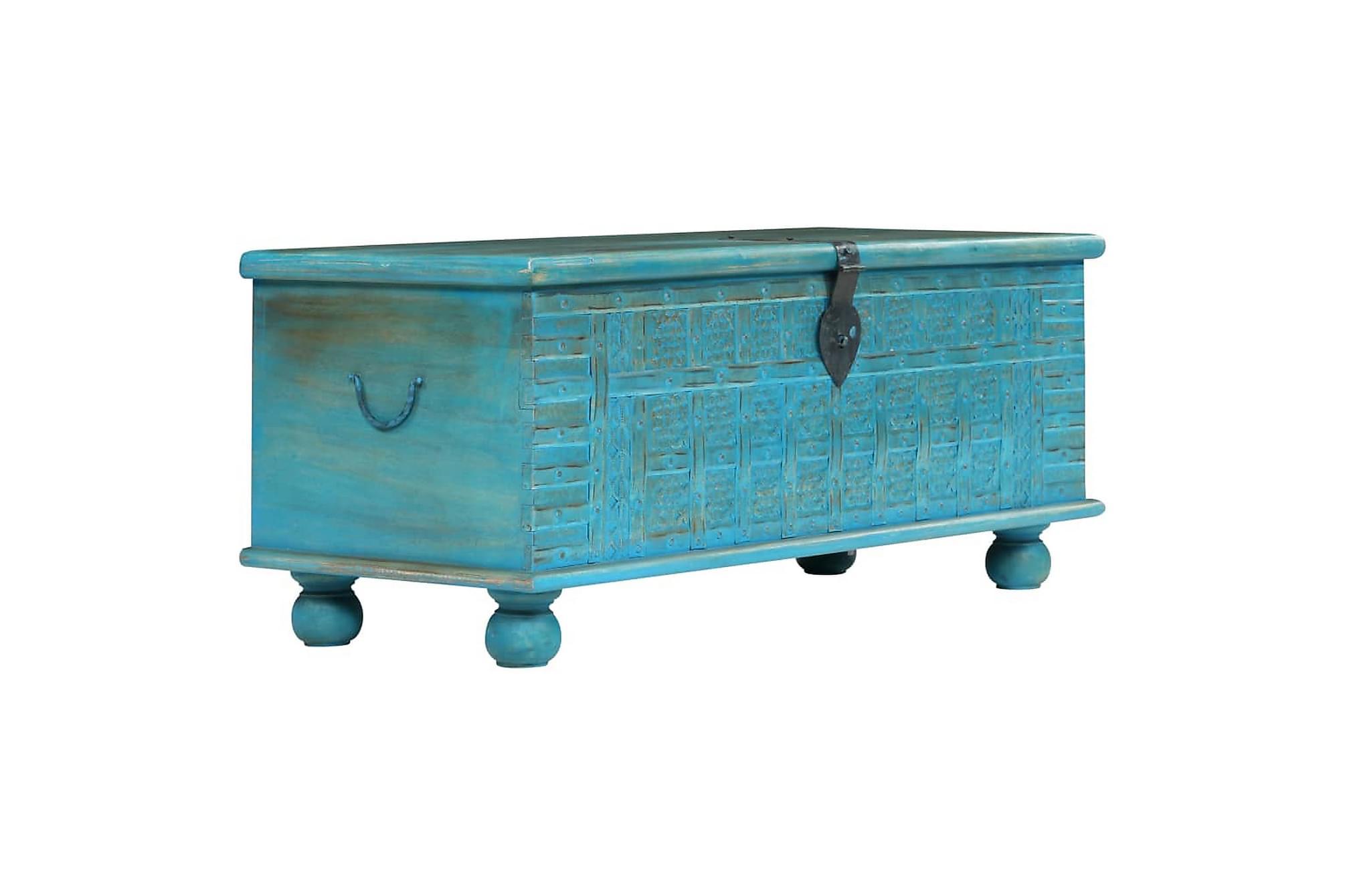Förvaringskista massivt mangoträ 100x40x41 cm blå