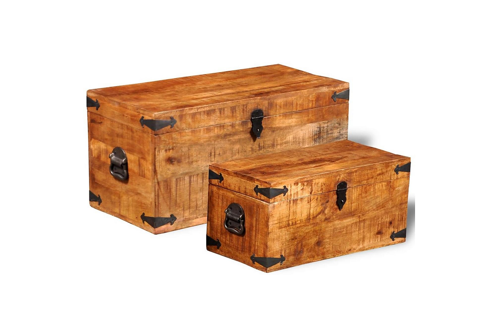 Förvaringskista set 2 st robust mangoträ, Förvaringskistor & sängkistor