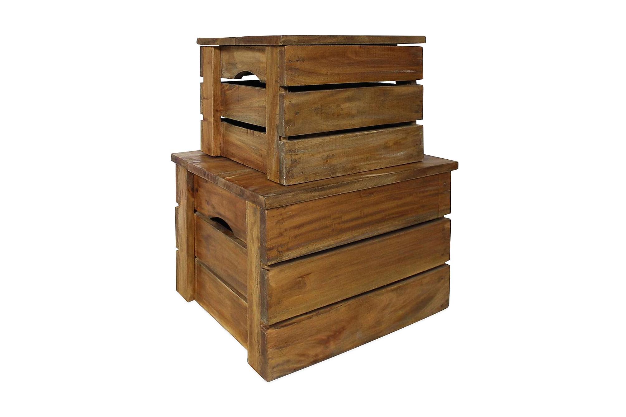 Förvaringskistor 2 st massivt återvunnet trä, Förvaringskistor & sängkistor