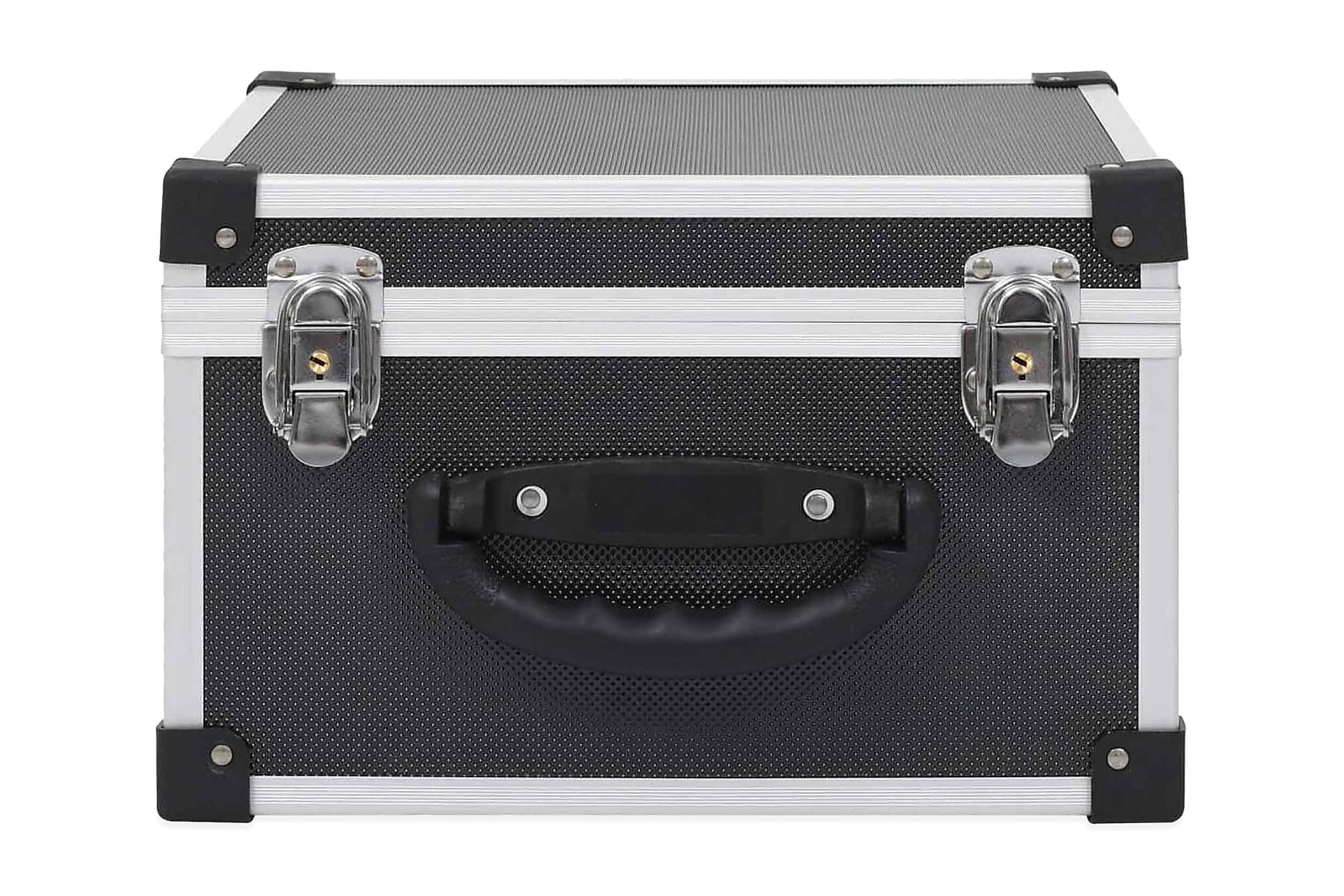 CD-väska för 40 cd-skivor aluminium ABS svart, Förvaringslådor & korgar