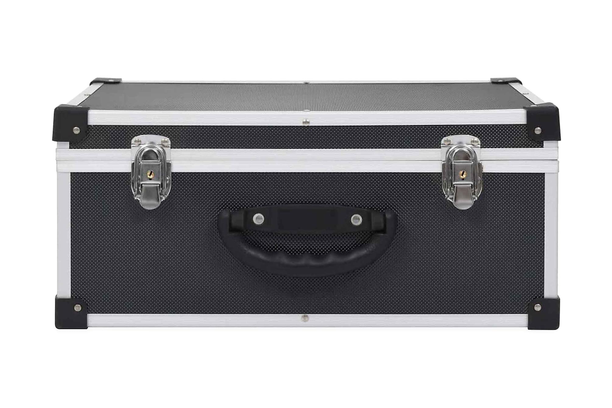CD-väska för 60 cd-skivor aluminium ABS svart, Förvaringslådor & korgar