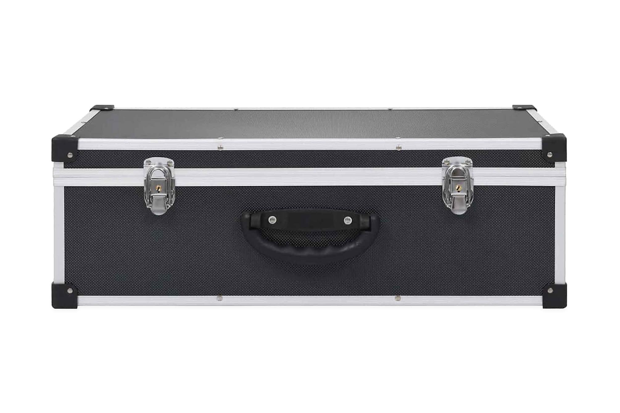 CD-väska för 80 cd-skivor aluminium ABS svart, Förvaringslådor & korgar