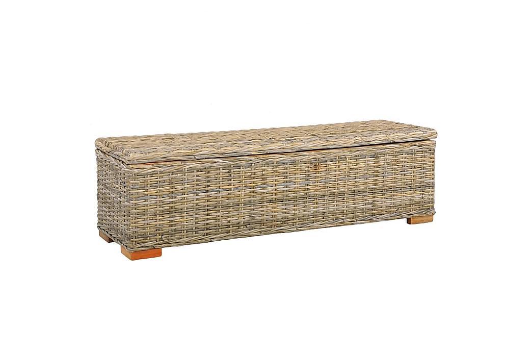 Förvaringslåda 120 cm kubu-rotting och massivt mangoträ - Brun - Möbler & Inredning - Förvaring - Förvaringslådor & korgar