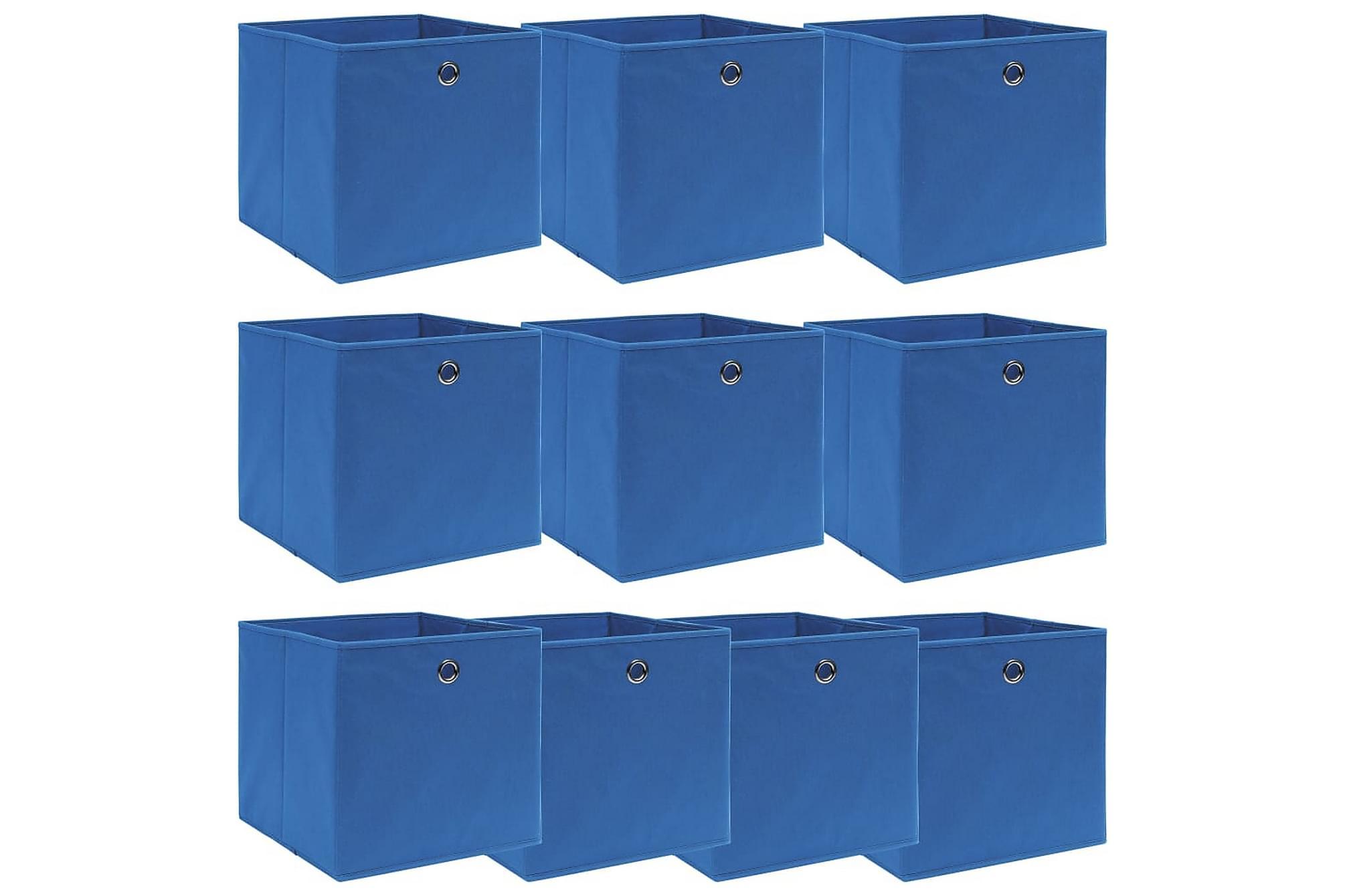 Förvaringslådor 10 st blå 32x32x32 cm tyg, Förvaringslådor & korgar